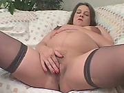 Sex starved brunette preggo fingering herself naked wanted to be fucked.