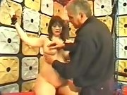 Brunette preggo bounded and spanked