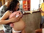 Guys spoil pregnant babe in orgy